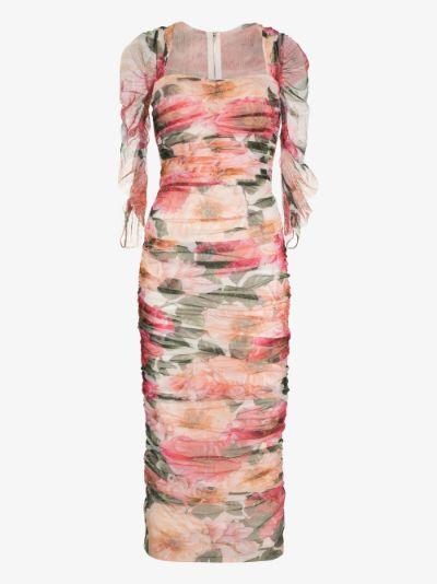 Floral square neck mesh midi dress