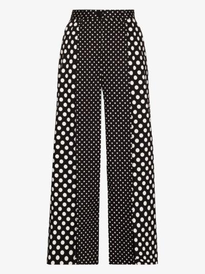 Front slit polka dot trousers