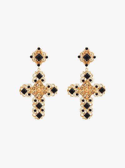 gold tone embellished cross earrings