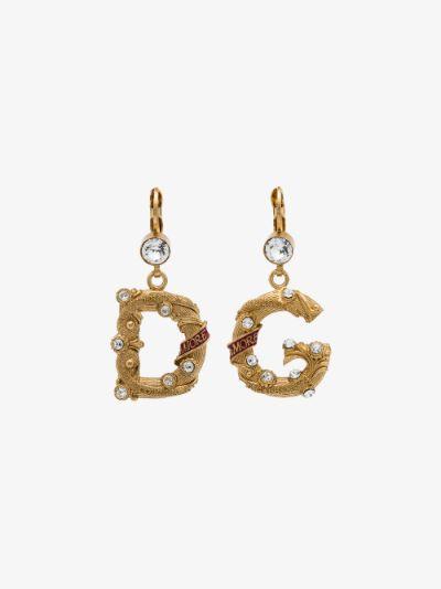 Gold tone small logo earrings