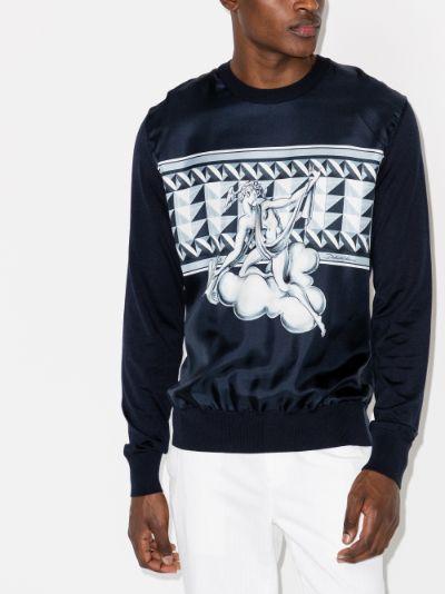 graphic print silk sweater