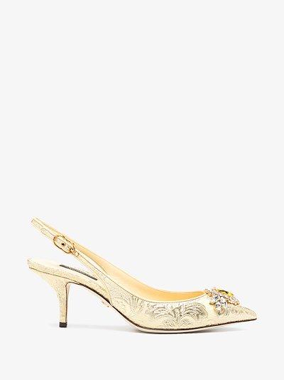 jacquard embellished low-heel pumps