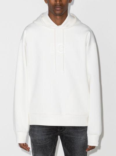 logo-patch V-neck hoodie