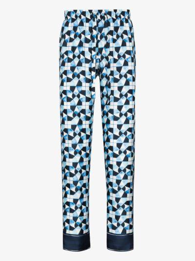 majolica print silk tapered trousers