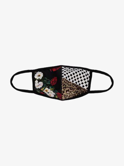 multicoloured spliced face mask