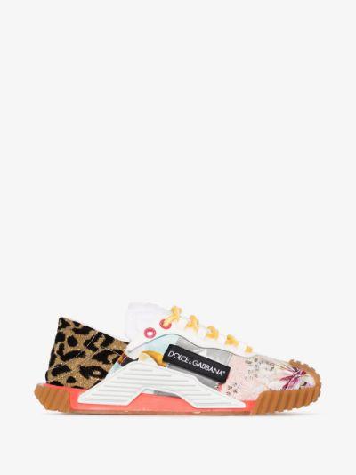 patchwork low-top sneakers