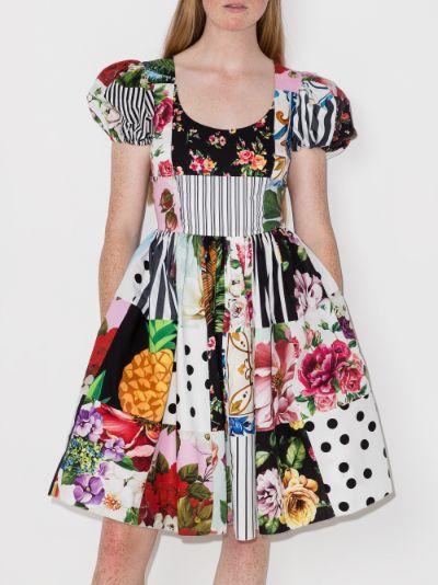 patchwork print flared dress
