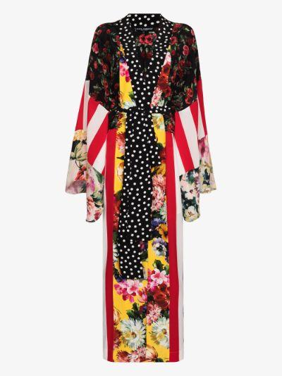 patchwork print silk kimono