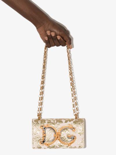 Pink and Gold Floral Lamé Mini Bag