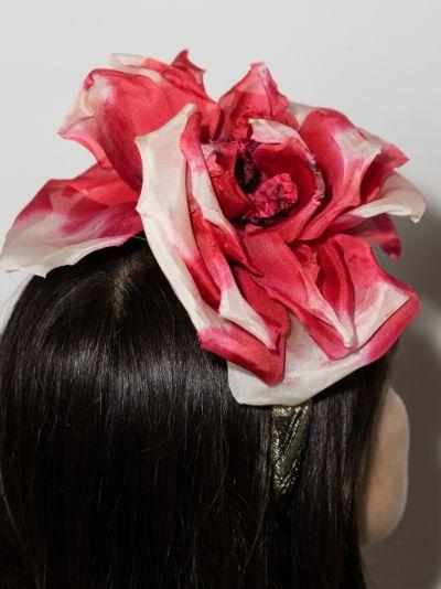 pink organza rose headband