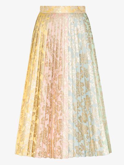 Pleated jacquard brocade midi skirt