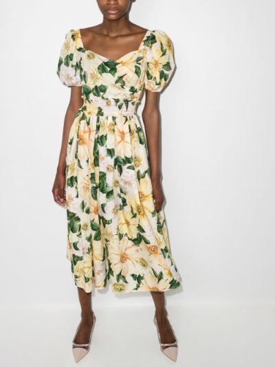 Puff sleeve Camellia print midi dress