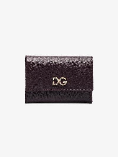 purple crystal logo leather wallet