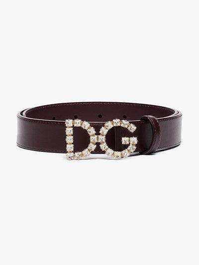 purple DG crystal logo leather belt