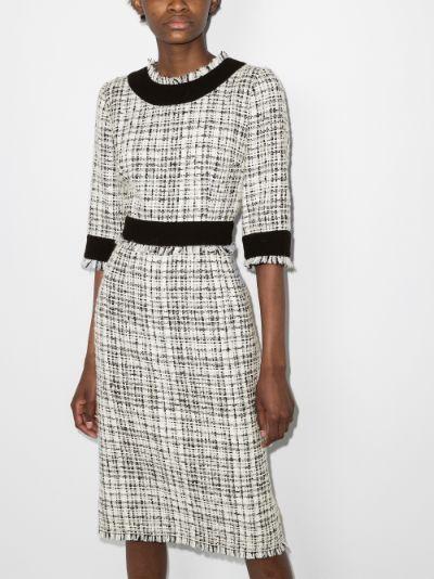 Round neck tweed midi dress