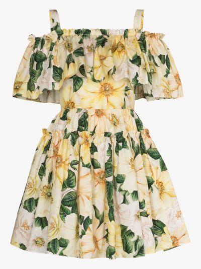 smocked cold shoulder floral mini dress