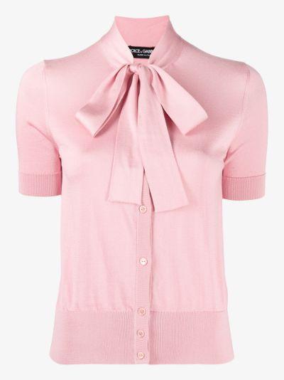 tie neck short sleeve cardigan