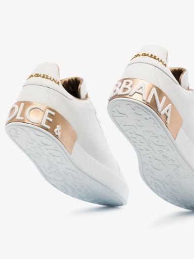 White Portofino leather logo sneakers