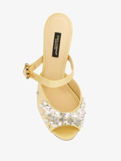 yellow 105 crystal embellished satin mules