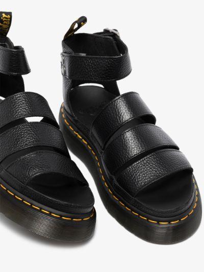 black Clarissa II Quad leather platform sandals