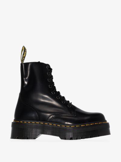 black Jadon platform leather boots