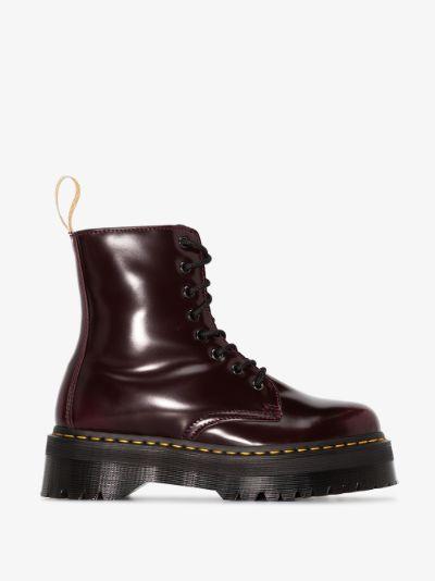 red Jadon II vegan leather platform boots