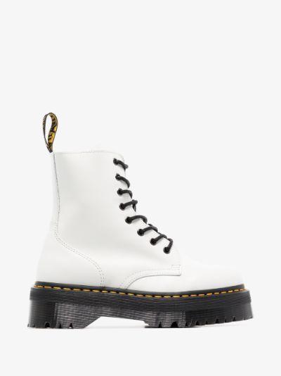 white Jadon platform leather boots