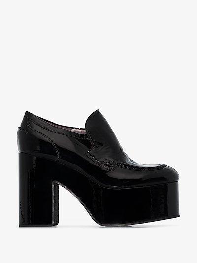 black 60 platform leather moccasin loafers