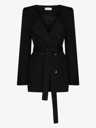 Breeze collarless tie waist jacket