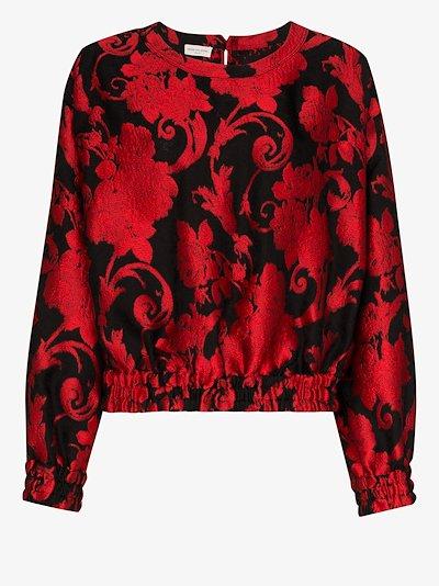 Calvin floral jacquard blouse