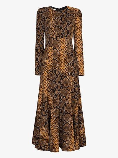 Danony snake print flared dress