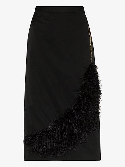 feather detail midi pencil skirt