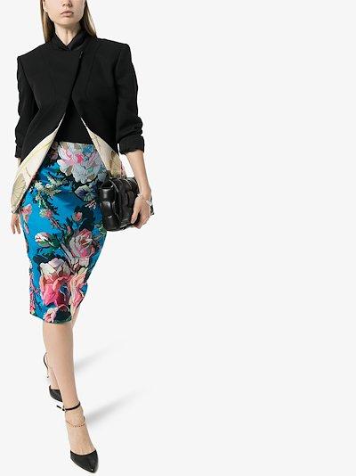 floral jacquard midi skirt