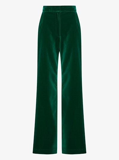 Pantery wide leg velvet trousers