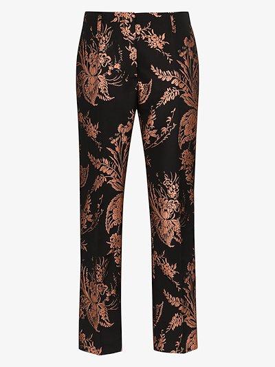 Paola floral jacquard slim leg trousers