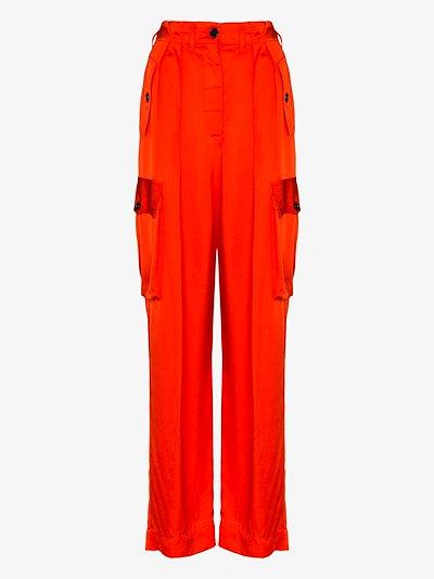 Polka high-waisted wide leg cargo trousers