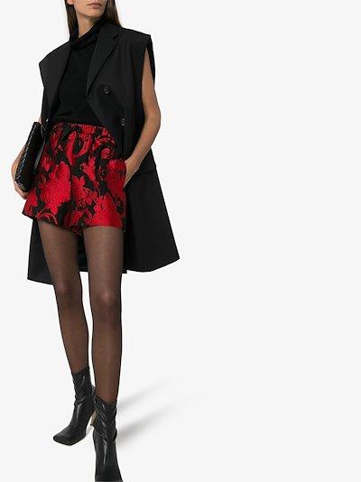 Posta floral jacquard drawstring shorts