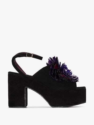 purple 60 flower suede platform sandals