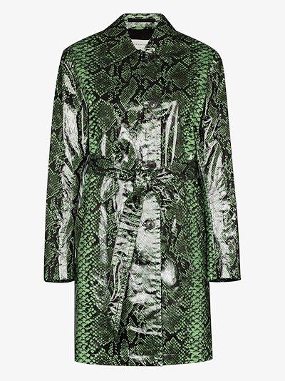 Ramblas snake print trench coat