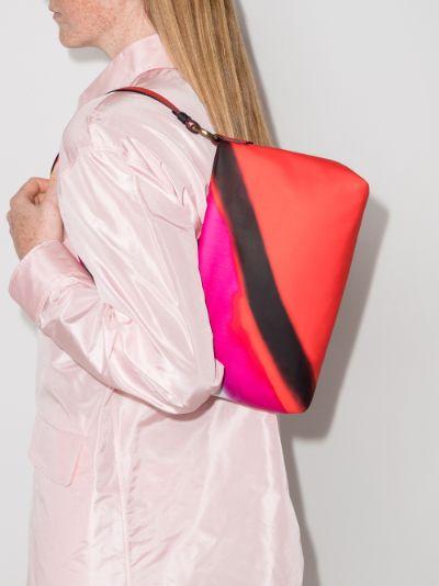 red striped shoulder bag