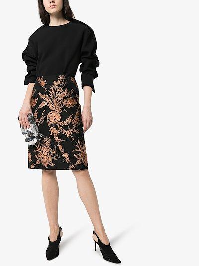 Salvy floral jacquard pencil skirt