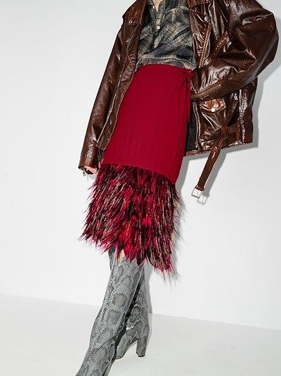 Scotti feather trim skirt