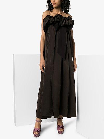 Seoni silk taffeta ruffle tie gown