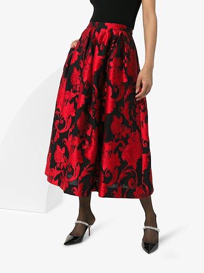 Soni floral jacquard midi skirt