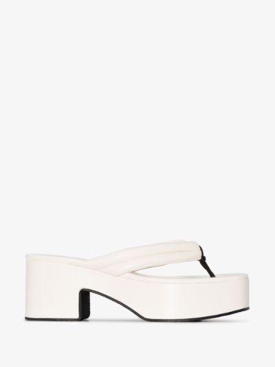 white 60 platform leather sandals