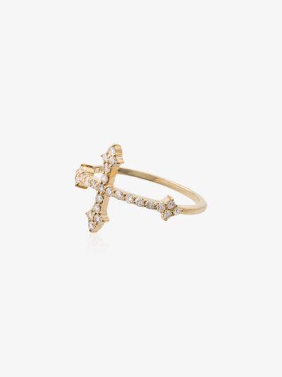 14K yellow gold Cross diamond ring