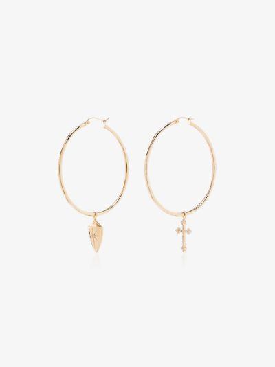 14K yellow gold Shield and Cross hoop earrings