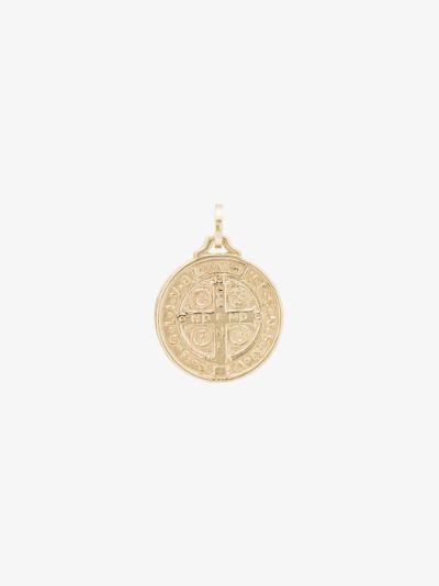 14K yellow gold St Benedict medallion charm