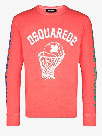 basketball logo long sleeve T-shirt