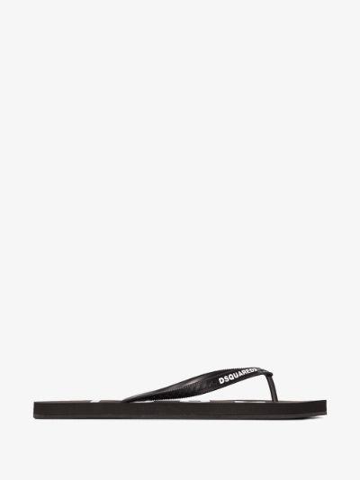 black logo flip flops